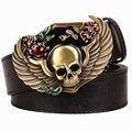 Personalidad salvaje correa de Los Hombres cinturones de hebilla de metal de color Cráneo Tótem ala patrón de la cabeza del esqueleto punk rock estilo tendencia cinturón para hombres