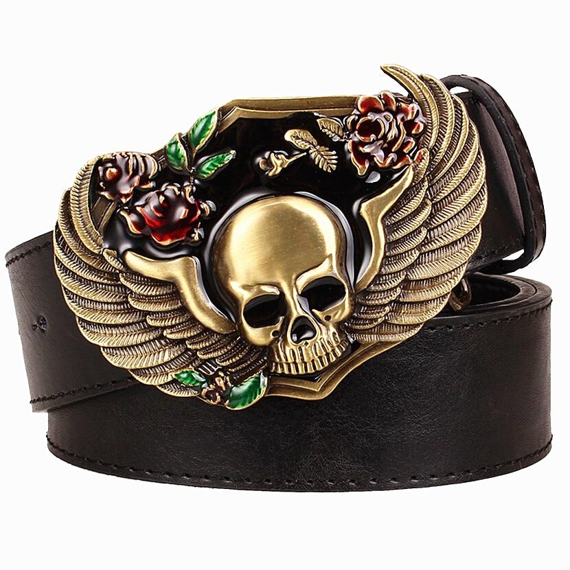 Дикі особистість чоловічий ремінь металеві пряжки колір череп тотем ремені крило скелет голова візерунок панк рок стиль тенденція пояс для чоловіків  t