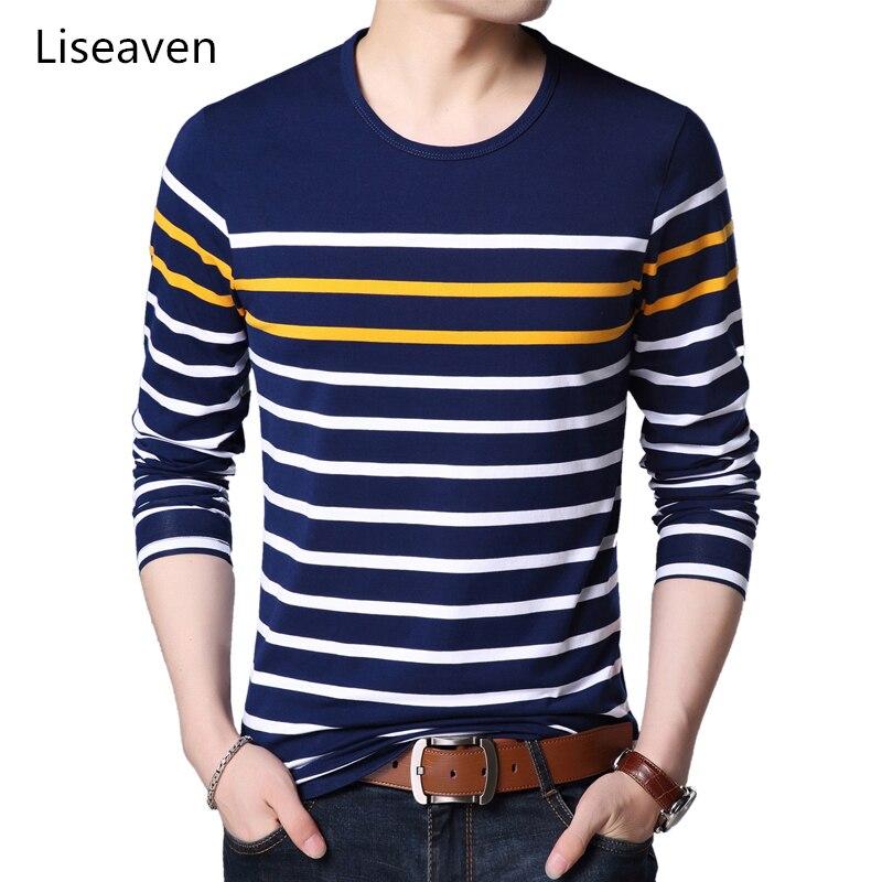 Liseaven Men's Cotton T-Shirts Striped Tshirt Long Sleeve T Shirt O-Neck Shirt Men Clothing