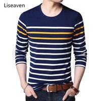 Liseaven Men's Cotton T Shirts Striped Tshirt Long Sleeve T Shirt O Neck Shirt Men Clothing