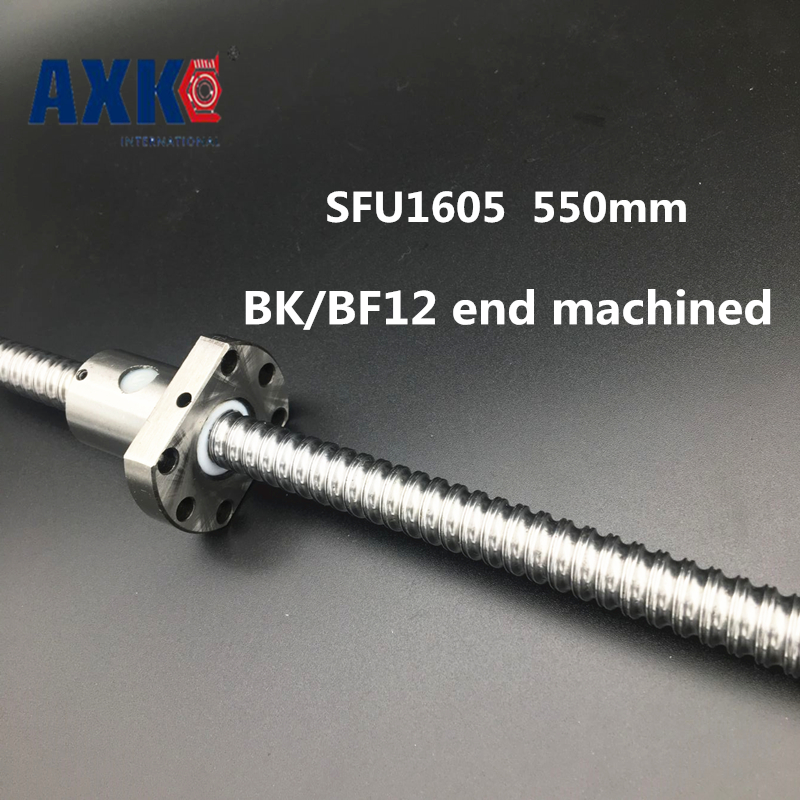 Linear Rail Cnc Router Parts AXK Free Shipping Sfu1605 550mm Bk/bf12 End Machined Rm1605 Rolled Ball Screw 1pc+1pc Nut For r165369410 rexroth ball rail systems cnc linear rail