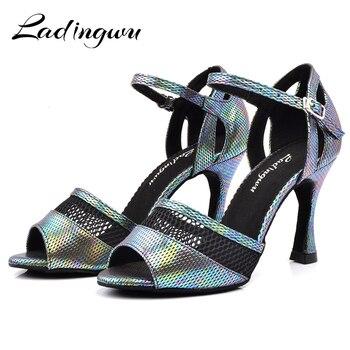 Ladingwu Dance Shoes Women Latin 9cm Cuban Heel Salsa Shoes Dance Sandals Metal Gray PU Discoloration and Mesh zapatos de mujer g d wilson cuban dance op 86