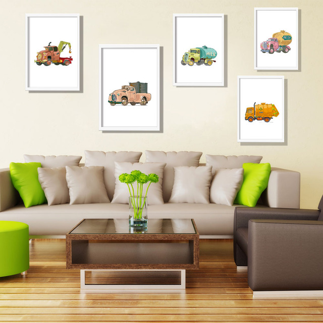 Minimalist Car Cartoon Engineering Car Print Art Canvas Poster Wall Picture Child Baby Room Decoration Painting No Frame