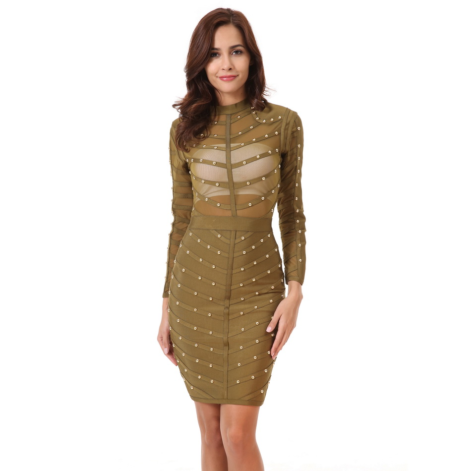 5e7b4a5052a Summer Women Sexy Beading Bodycon Dress New Solid Turtleneck Mesh Knee  length Knitting Long Sleeve Bandage Dresses-in Dresses from Women s Clothing  ...