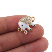 10pcs Jewelry Making Supplies Micro Pave Cute Animal Elephant Charms Connector Inlay Rhinestone for Jewelry Making DIY Handmade(China)