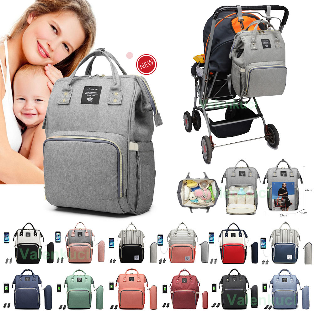 LEQUEEN Large Mummy Maternity Baby Nappy Diaper Bag USB Backpack Travel Bag  ~