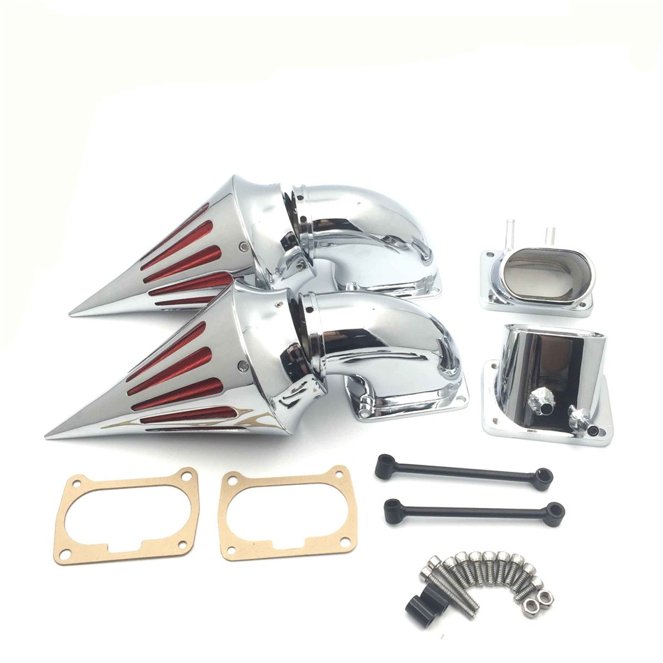 Aftermarket Motorcycle Chrome Billet Aluminum Cone Spike Air Cleaner Kit Intake Filter For Suzuki Boulevard M109 chrome aluminum motorcycle kit cone spike air cleaner intake filter case for harley cv carburetor delphi v twin