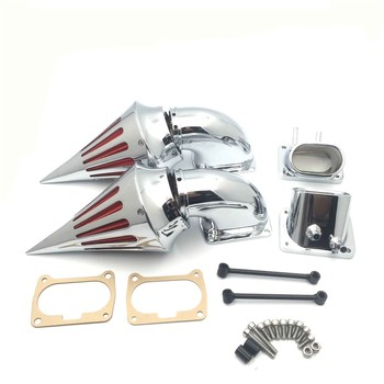 цена на Aftermarket Motorcycle Chrome Billet Aluminum Cone Spike Air Cleaner Kit Intake Filter For Suzuki Boulevard M109