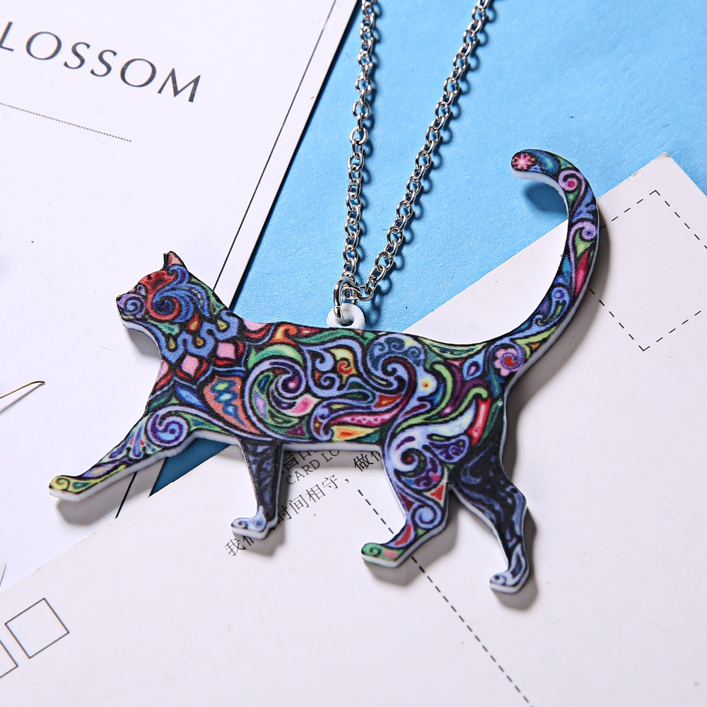 Handmade Colorful Double Side Acrylic Printing Flower Jewelry Animal Cat Pendant Necklace For Women Sweater Chain Family Gift 3