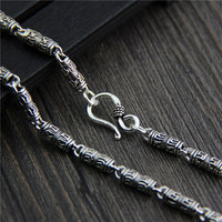 wholesale S925 Sterling Silver Vintage personality Thai silver necklace six words men bare chain