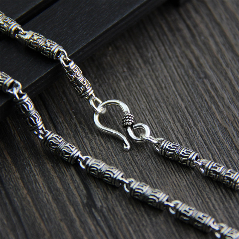 wholesale S925 Sterling Silver Vintage personality Thai silver necklace six words men bare chain equte psiw3coot1 s925 sterling silver necklace cat s eye axe pendant chain white silver 16