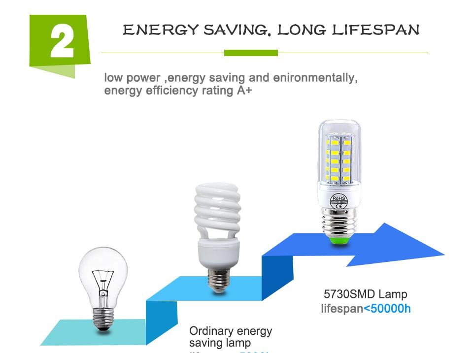 E27 LED Bulb E14 LED Lamp 220V 24 36 48 56 69 72LEDs Bombillas Ampoule LED E27 E14 Corn Light Bulbs For Home Chandelier Lighting (8)