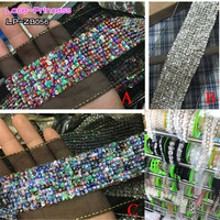 1 Yard 4CM Black Fabric Colorful Sequins Clothing Accessories Collar Flower DIY Handmade Beading Braid Lace