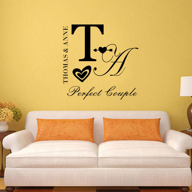 Online Shop Personalized Couple Name wall sticker DIY quote,perfect ...