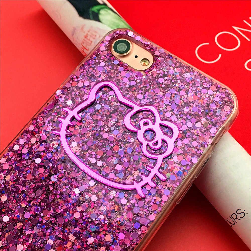 ハローキティかわいい iphone 7 プラスケースシャイ 3d ゴム I7 シェルのための iPhone 6 6s プラス Funda アンチスキッドキャパ Cas