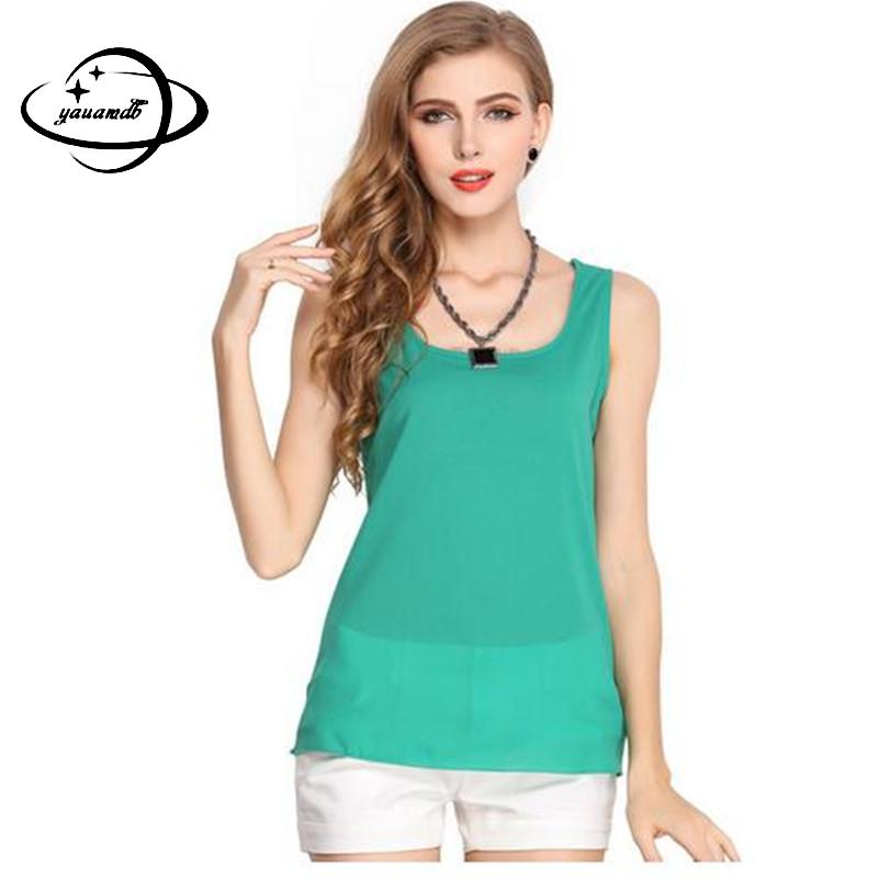 Women Cropped Plus-Size Vest Top Tank-Top Camisole Loose Chiffon Candy-Colors Fashion