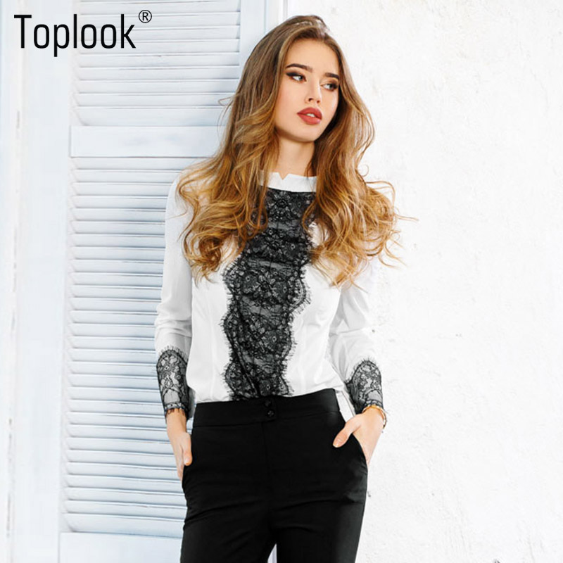 Toplook White Lace Blouse Elegant Long Sleeve Office Shirt Women Stand Collar Blouses Casual 2017 Crochet Spring Patchwork Tops
