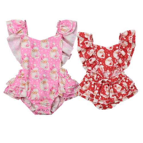 Для новорожденных девочек Рождество Санта-оборками боди, без рукавов, хлопок Вечерние наряды одежда милая Летняя Одежда 0-24 м для девочек