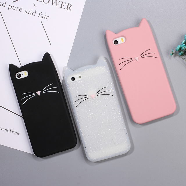 low priced 06972 fe12b US $3.79 |DULCII Case for iPhone SE 5S 5 Case 3D Bearded Cat Silicone Soft  Cute Cell Phone Cover for iPhone 5s 5 Cover Capa Coque Funda-in Fitted ...