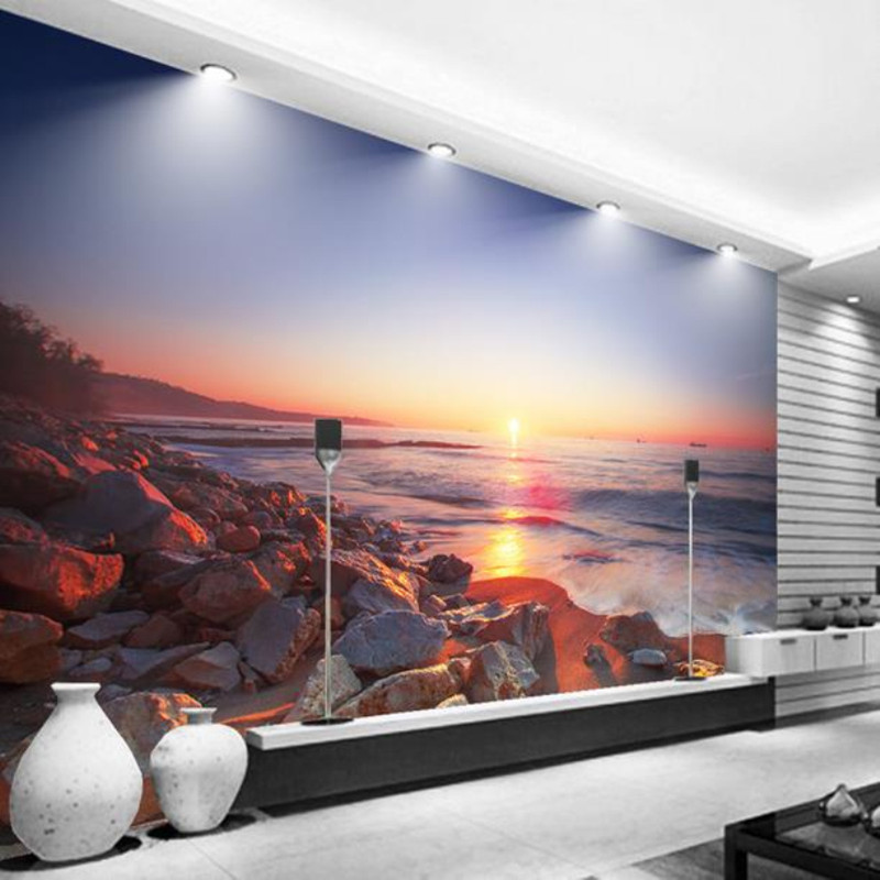 Modern 3D Photo Wallpapers Beautiful Sea View Sunset Beach Stone Background Wall Living Room Bedroom TV Sofa frescoes Wall Paper sunset sea surf beach fantasy landscape