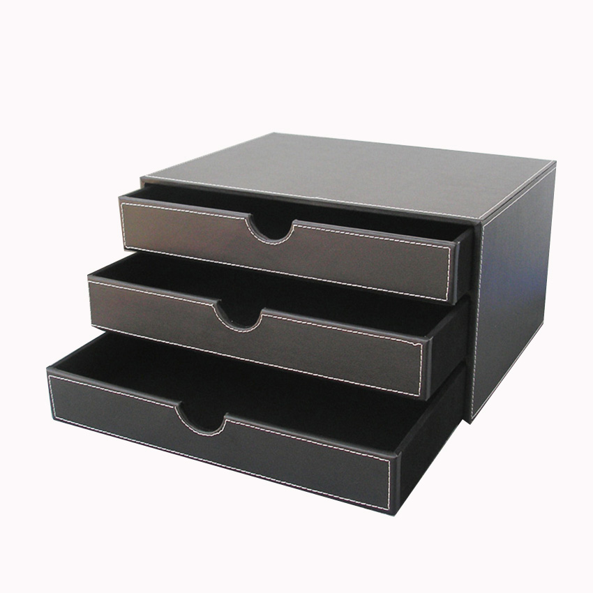 Ever Perfect 3 Layer Leather Desk Document Storage Box