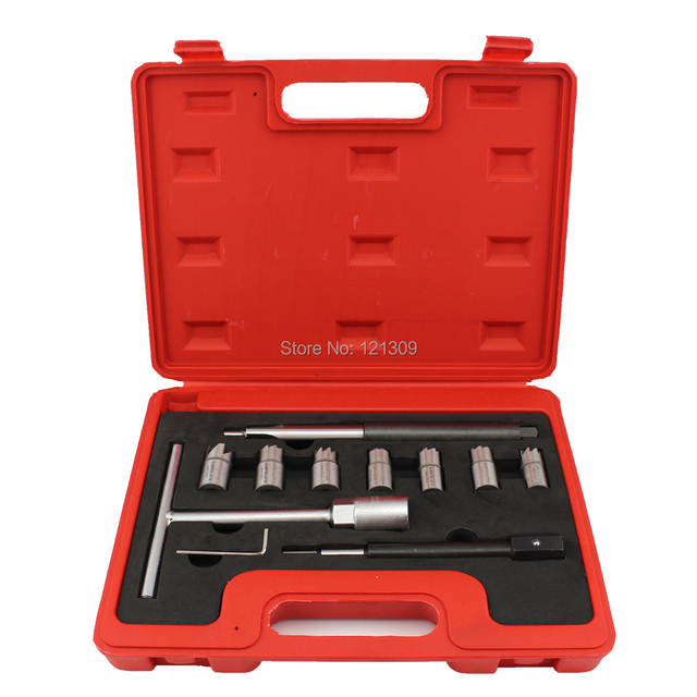 Diesel Injector Seat Cutter Set Cleaner Carbon Remover Tools Kit -10pcs
