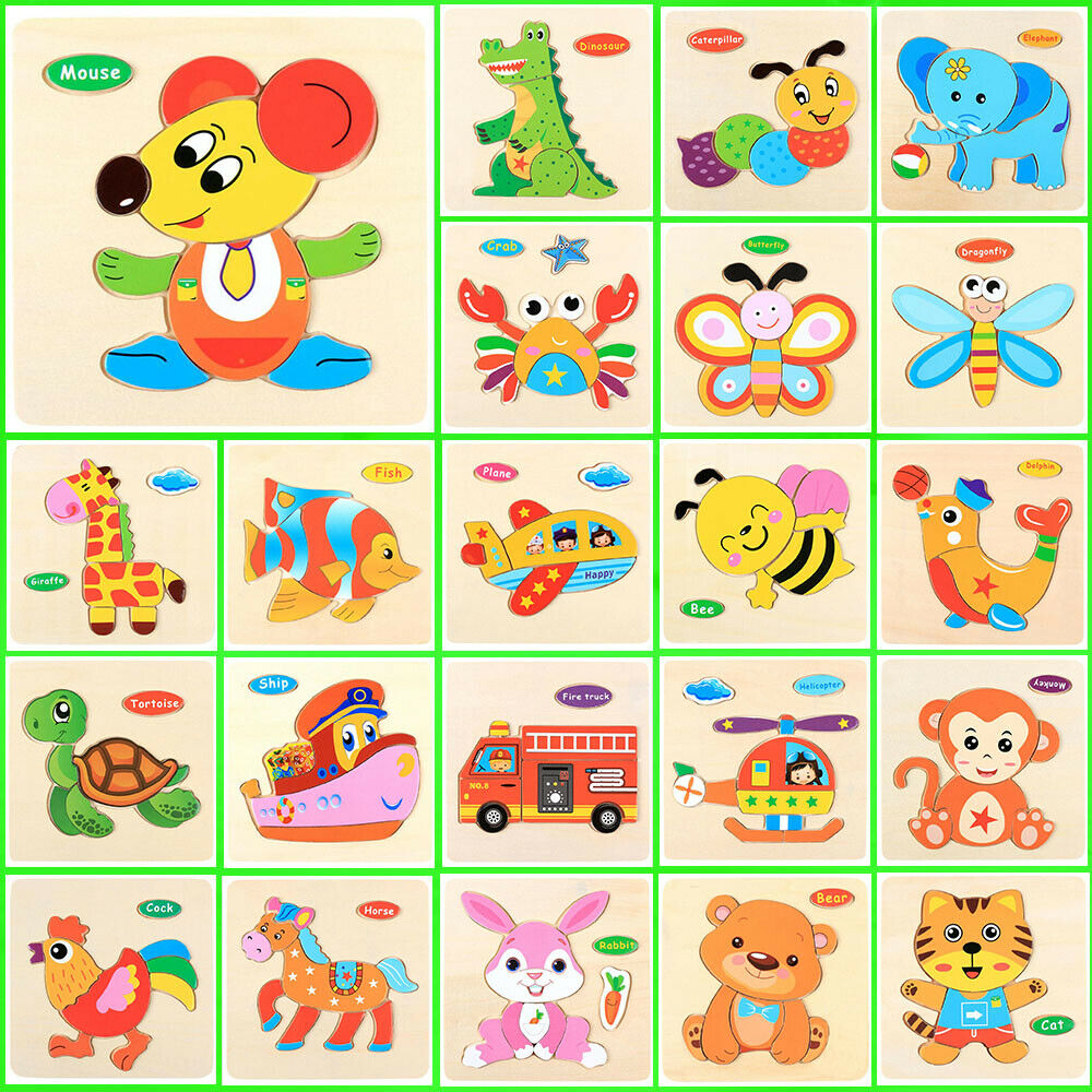 Wooden Cartoon Animal Bee Fire Truck Cat Rabbit Elephant Puzzle Jigsaw Early Learning Baby Kids Educational Toys