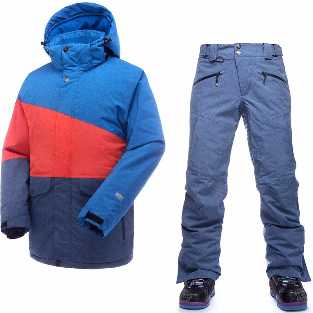 Saenshing hombres del juego de esquí térmica impermeable chaqueta de esquí + Pantalones de snowboard montaña masculino esquí y snowboard nieve del invierno conjunto