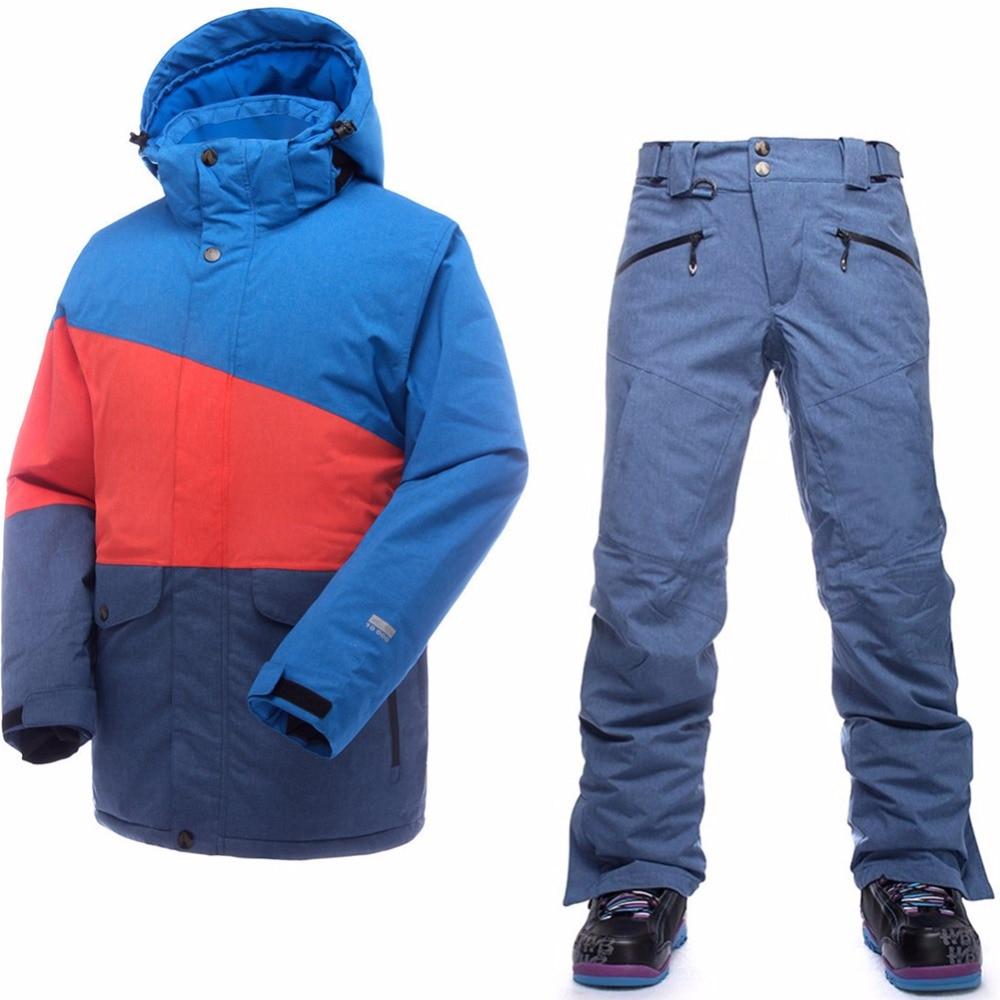 Saignement ski costume pour homme imperméable à l'eau thermique veste de ski + pantalons de snowboard mâle montagne ski et snowboard hiver neige ensemble