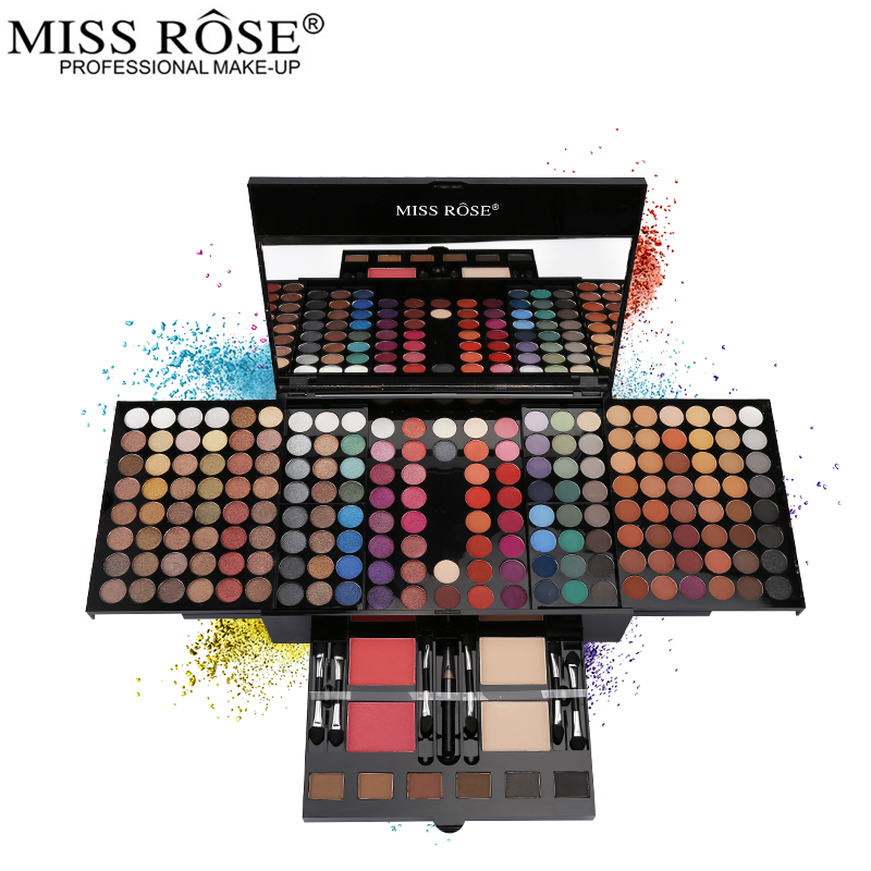 Miss Rose Professional Eye Makeup 180 Color Matte & Shimmer Eyeshadow Palette Full Color Eye Shadow Make Up Kit miss rose cosmetic eyeshadow makeup palette diamond shaped shiny matte eye shadow concealer powder collection make up set kit