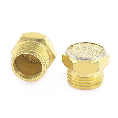 2 Pcs Solenoid Valve Pneumatic Filter Noise Silencer 16mm Male Thread Gold Tone
