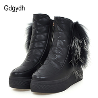 Gdgydh Women Boots For Winter 2017 New Arrival Wedges Snow Boots Real Fur Warm Shoes Plush
