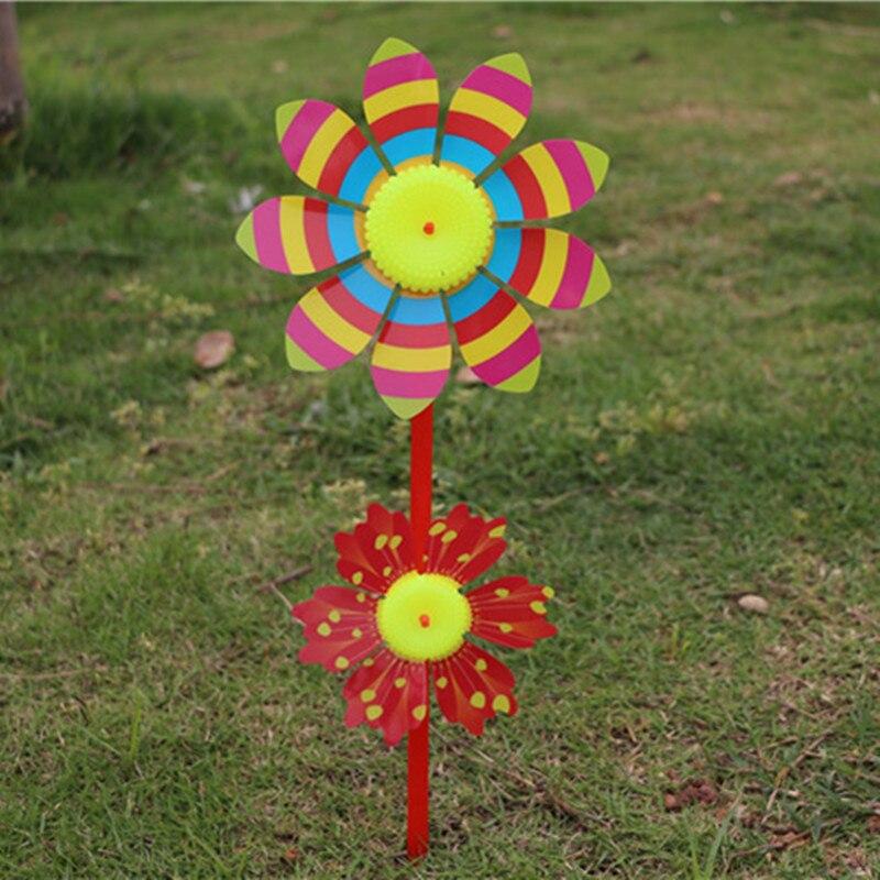 reative cartoon two flower windmill children toy animal flowers outdoor garden decoration windmill