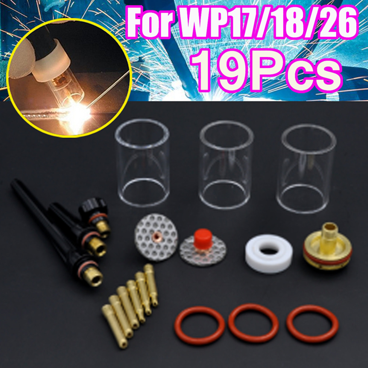 New 19PC TIG Welding Torch Kit Tungsten Needle Clip Stubby Collet Body Gas Lens Insulator Pyrex Glass Cup for WP-17/18/26 Series 17pcs tig welding torch stubby collet gas lens glass nozzle pryex cup kit with heat resistant o rings for wp 17 18 26 series