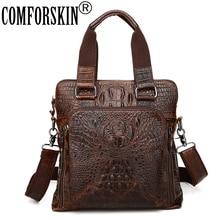 COMFORSKIN Brand Mochila Masculina Premium 100% Genuine Leather Alligator Men's Totes New Arrivals Casual Men Leather Handbags comforskin brand premium 100