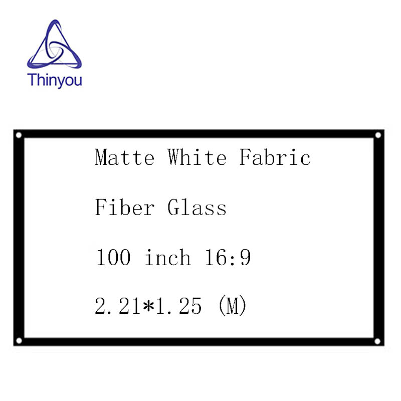 Thinyou Simple Projector Screen100 inch 16:9 Matte White Fabric Fiber Glass with Eyelets without Frame screen wall for projector