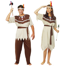 Adult Costume Indian Fancy Dress Women Holiday Cosplay Man Fantasia Outfit Ethnic