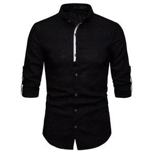 Image 5 - Męskie Pure White 100% koszula lniana stójka z długim rękawem męskie ubranie koszule Casual do pracy Plus rozmiar koszulka Homme topy