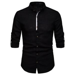 Image 5 - Mens Pure White 100% 리넨 셔츠 만다린 칼라 긴 소매 남성 드레스 셔츠 캐주얼 비즈니스 작업 플러스 사이즈 Chemise Homme Tops