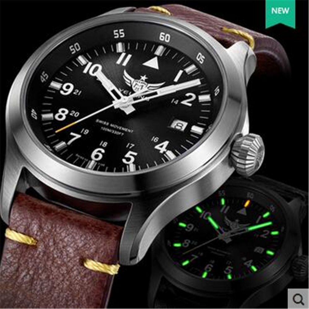 Yelang Men Quartz Watch Tritium T100 Ronda Movement Lithium battery pilot watch WR100M Sapphire Genuine Leather