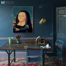 Kawaii Cartoon Chubby Mona Lisa Posters and Prints Nordic Living Room Wall Art Pictures Home Bar Decor Famous Canvas Paintings