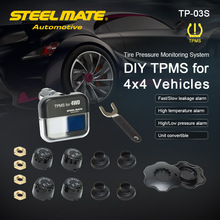 Steelmate TP-03S TPMS Tire Stress Monitoring System with Adjustable LCD Show Cigarette Plug Four Valve-cap Exterior Sensors