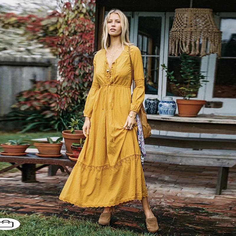 eb7142d48c4 ... Yellow V-Neck Long Sleeve Boho Maxi Dress Cotton Patchwork Lace Dresses  Women Casual Beach ...
