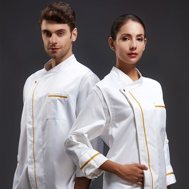 Five Stars Hotel Chef Master Jacket Men Autumn And Winter Long Sleeve Chefs Coat Women Western Restaurant Executive Chef Clothes