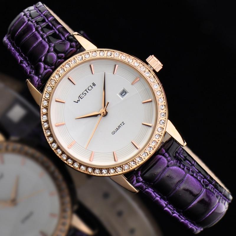 2016 new design women watch top brand WESTCHI watch waterproof 30m genuine leather strap diamond dial
