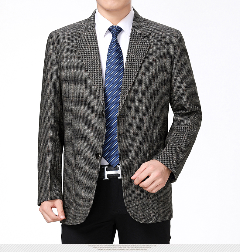 WAEOLSA Mature Men Business Casual Blazers Coffee Gray Texture Suit Coat Man Classical Blazer Hombre Notched Collar Suit Jacket (6)