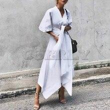 CUERLY Fashion 2019 Summer Dress Vintage Long Maxi Women Short Sleeve Sexy V Neck Asymmetrical High Waist Party