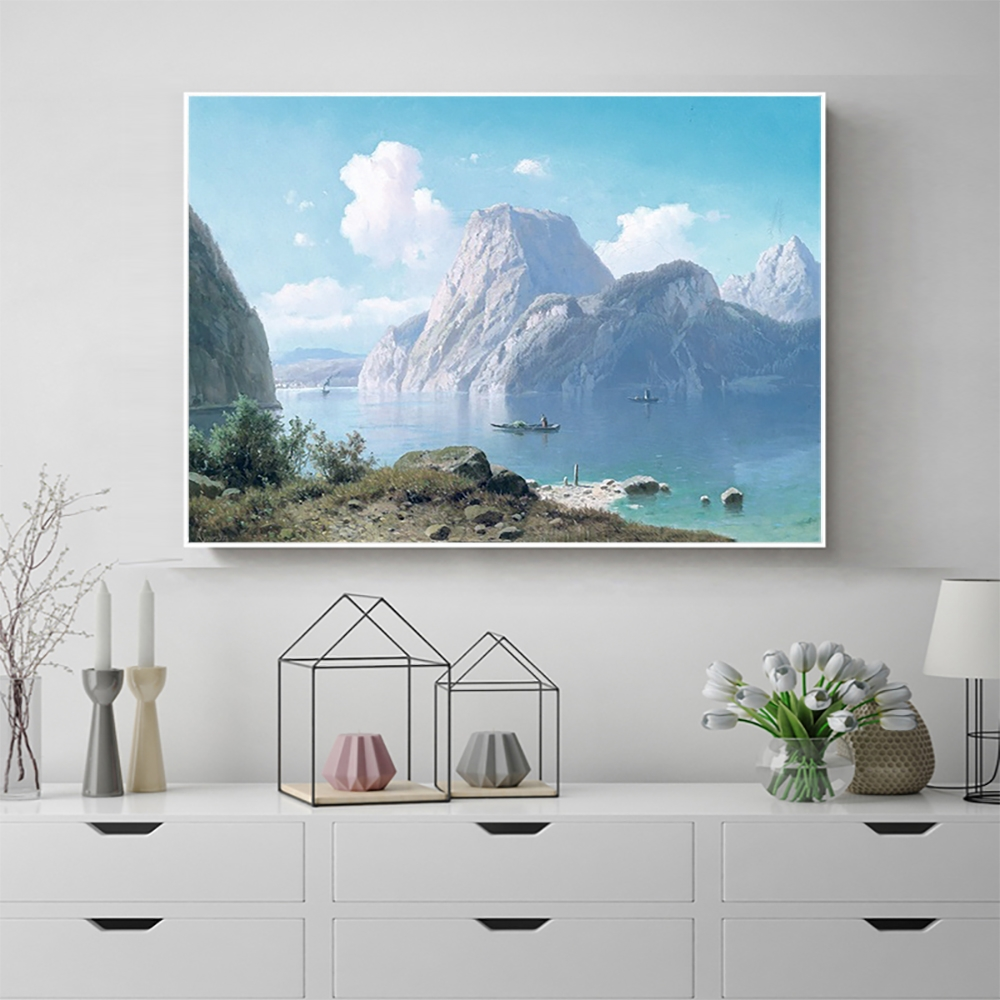Laeacco Snow Mountain River Wall Artwork Posters and Prints Canvas Painting Nordic Home Decoration Living Room Decor