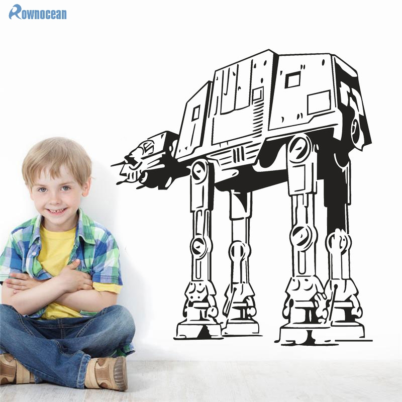 Hot Sale Star Wars Pet Robot Dog AT-AT Childrens Wall Stickers Kids Room Decoration Vinyl Removable Art Wall Decor Muraux S-08