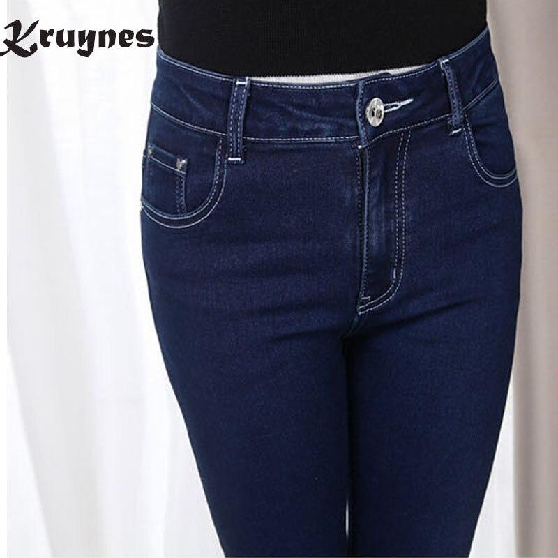 2017 Winter autumn fashion brand plus size 5XL jeans blue color casual denim pants women pencil jean trousers  big size смартфон highscreen fest xl pro blue